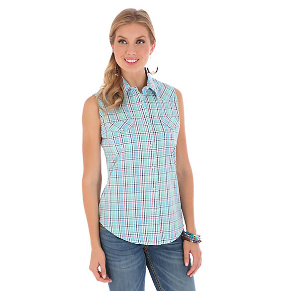 Women's As Real As Wrangler® Sleeveless Biased Yokes Plaid Top