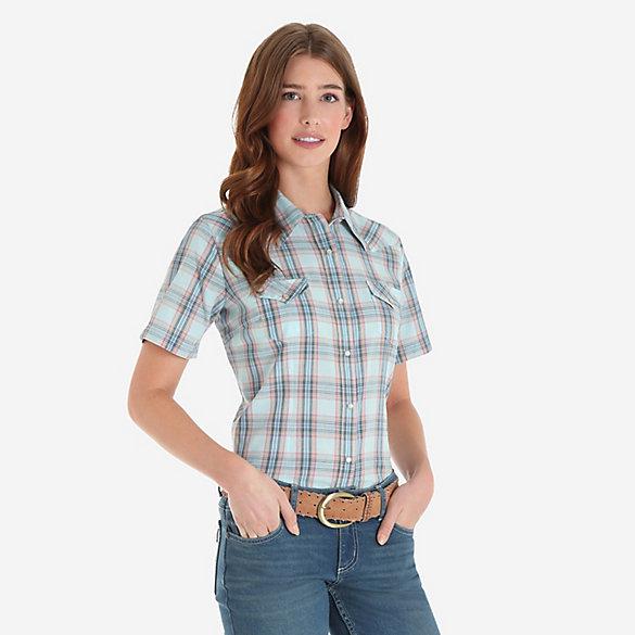 14f4bc2d Women's Short Sleeve Biased Yoke Plaid Western Snap Shirt   Womens ...
