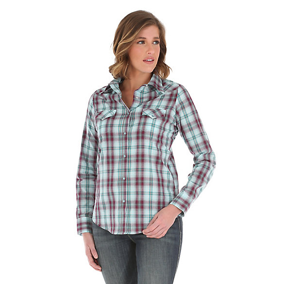Women's  As Real As Wrangler® Long Sleeve Western Snap Plaid Top