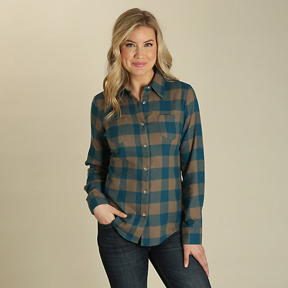 As Real As Wrangler® Long Sleeve Button Down Flannel Plaid Top