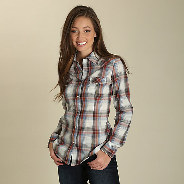 Women's As Real As Wrangler® Long Sleeve Lurex Plaid Western Snap Shirt