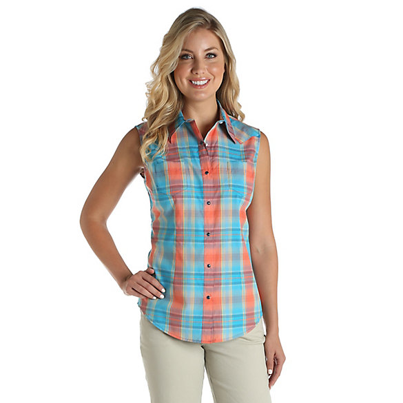 Women's As Real As Wrangler® Sleeveless One Point Yoke Western Snaps Plaid Top