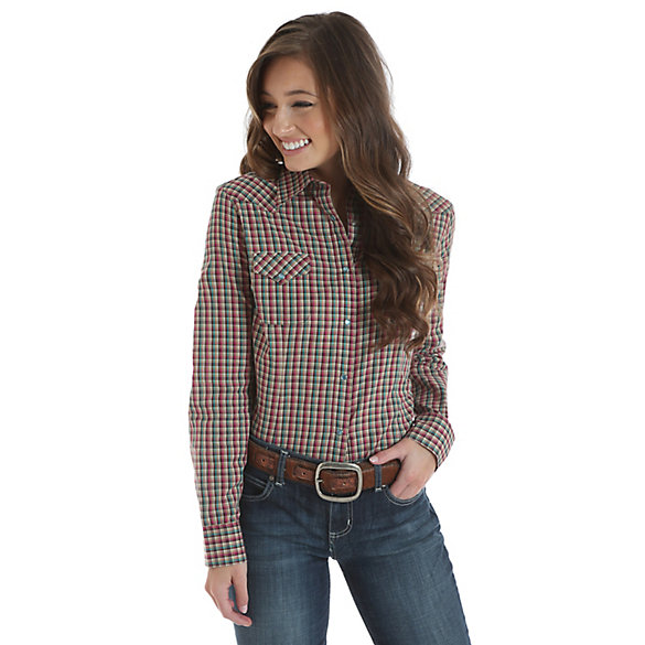 As Real As Wrangler® Long Sleeve Snap Front Top