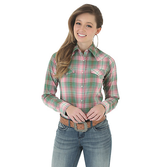 As Real As Wrangler® Front and Back Yokes Long Sleeve Plaid Top