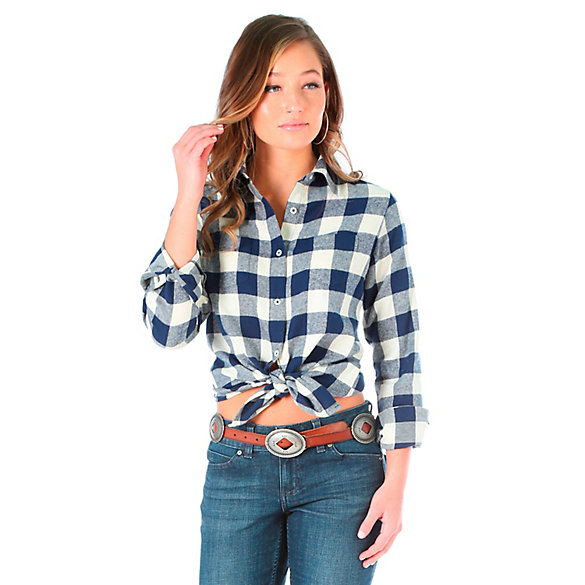 Women's As Real As Wrangler® Long Sleeve Button Down Patch Pockets Plaid Top