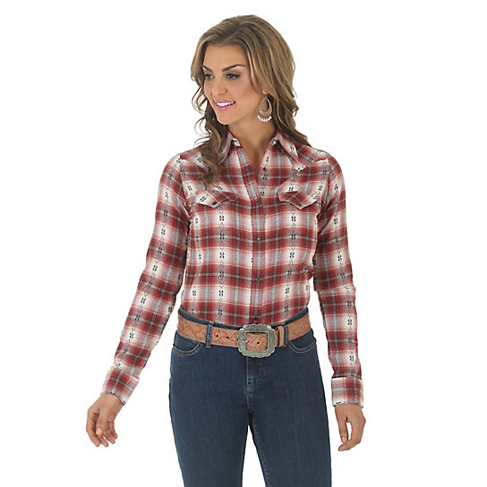 Women's As Real As Wrangler® Long Sleeve One Point Biased Yokes Plaid Top