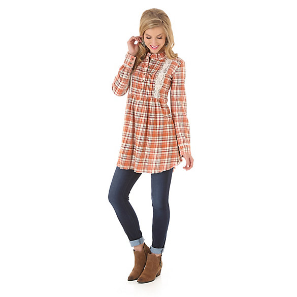 Women's As Real As Wrangler® Long Sleeve Plaid Tunic