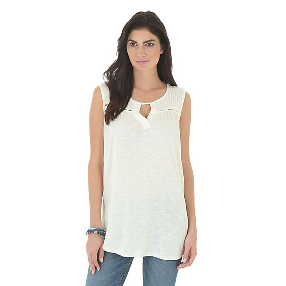 Women's As Real As Wrangler® Sleeveless Pintucking and Inserts at Front Solid Top