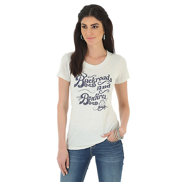 As Real As Wrangler® Scoop Neck Backroads and Bonfires Printed Tee