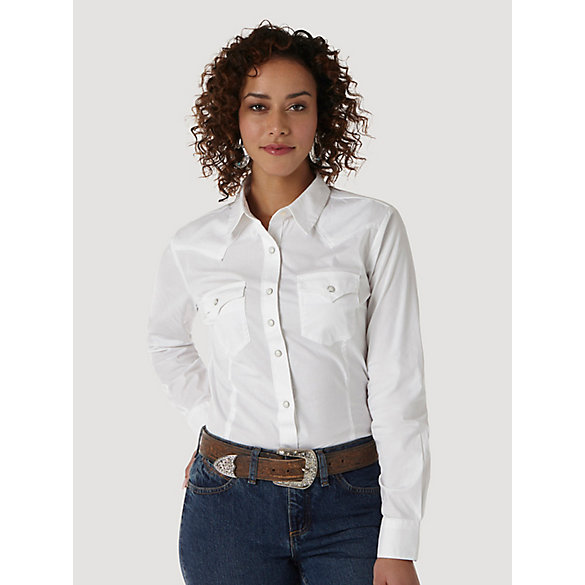Wrangler® Western Fashion Long Sleeve Solid Top - White