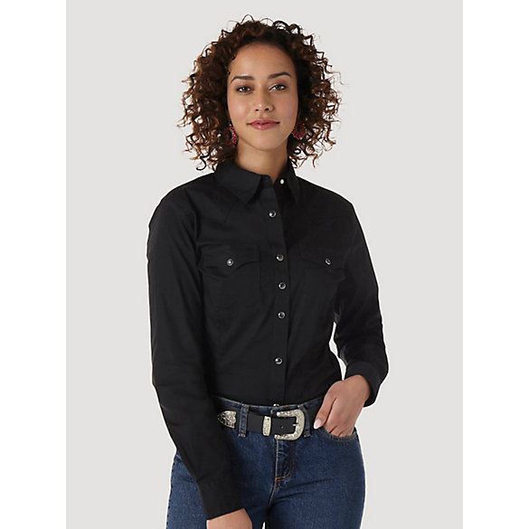 Wrangler® Western Fashion Long Sleeve Solid Top - Black