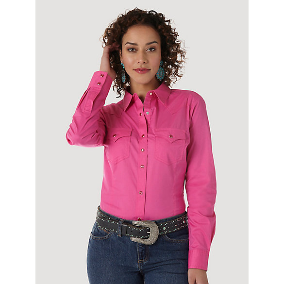 Wrangler® Western Fashion Long Sleeve Solid Top - Pink