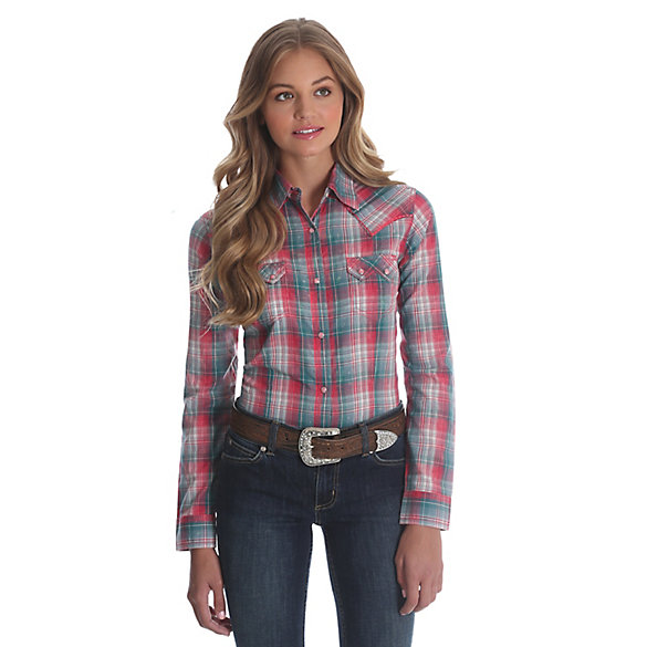 Women's Long Sleeve Sawtooth Snap Flap Pocket Plaid Top