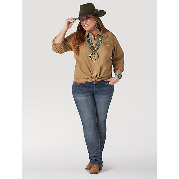 Women's Long Sleeve Western Snap with Front and Back Yokes Solid Top