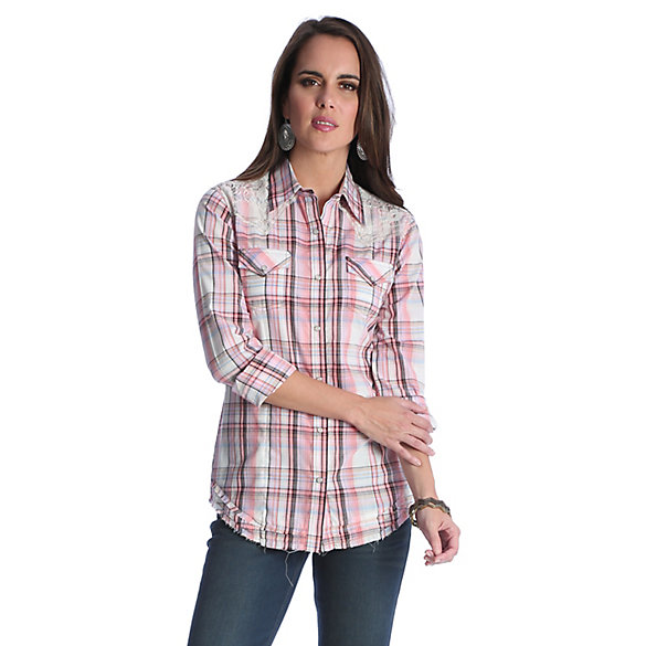 Women's Long Sleeve Western Snap with Yokes/Lace Plaid Top