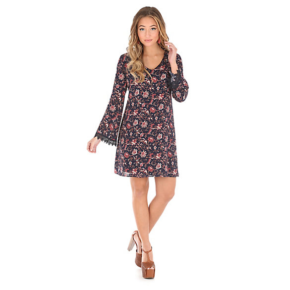 Women's Vneck Floral Long Sleeve Dress