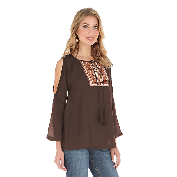Women's Peasant with Embroidery Detail and Tie at Center Front Solid Top