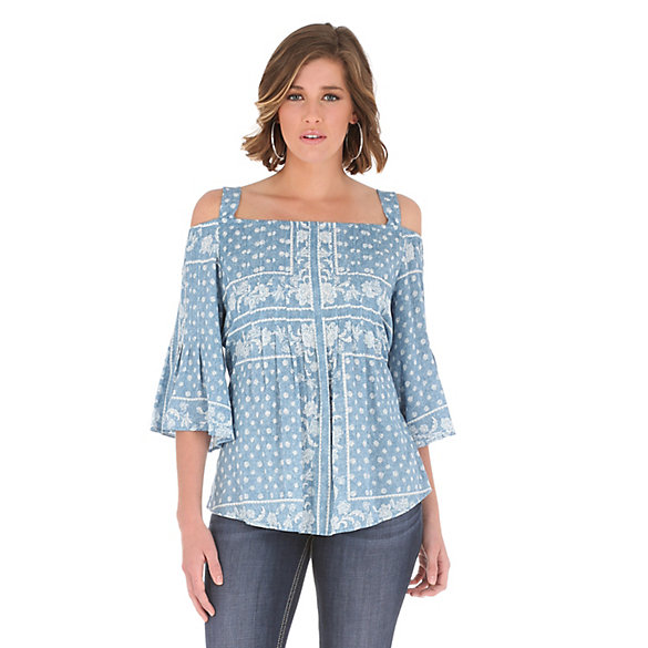 Women's Peasant with Pintucking and Ruffle Sleeves Print Top