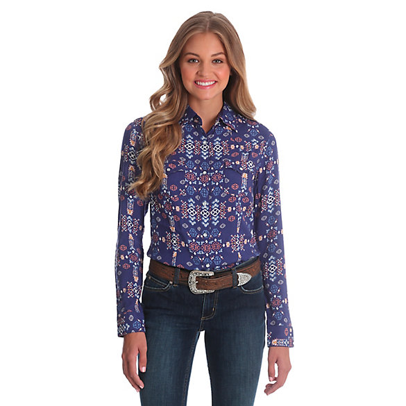 Women's Long Sleeve One Point Yokes Aztec Print Top