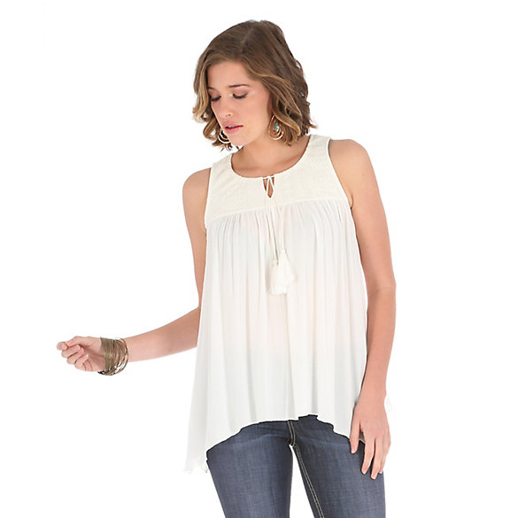 Women's Sleeveless with Lace/Tie/Tassel at Center Front Solid Top