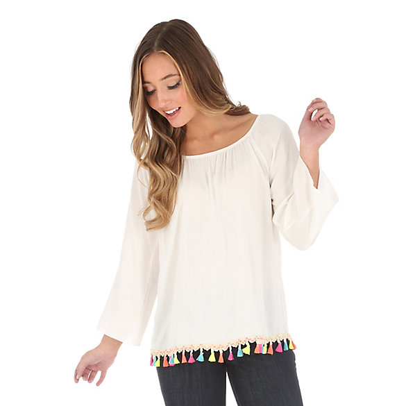 Women's Long Sleeve with Multicolored Pom Pom Trim at Bottom Solid Top