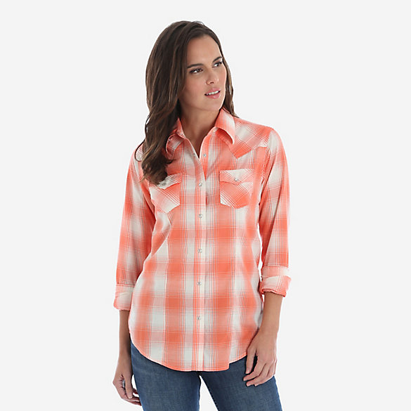 3806c450 Women's Wrangler® Long Sleeve Pointed Yoke Western Snap Plaid Shirt ...