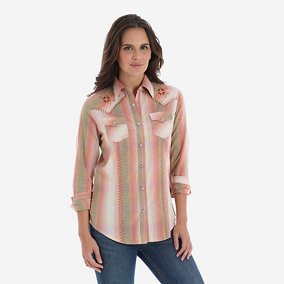 Women's Long Sleeve Embroidered Western Snap Shirt