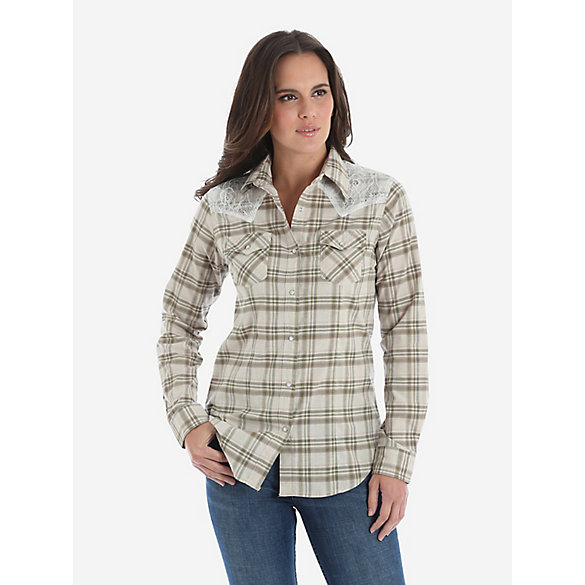 Women's Long Sleeve Lace Yoke Western Snap Shirt