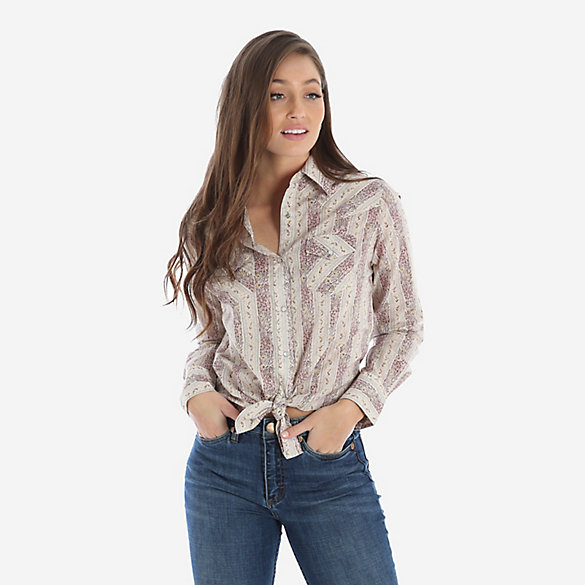 Women's Long Sleeve Floral Print Western Snap Shirt