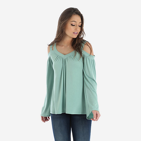 Women's Long Sleeve Cold Shoulder V-Neck Peasant Blouse