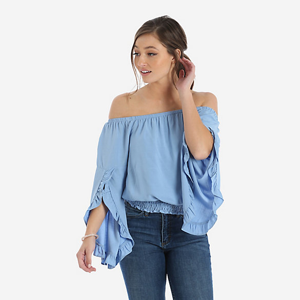 Women's Long Sleeve Off-the-shoulder Ruffle Trim Peasant Blouse