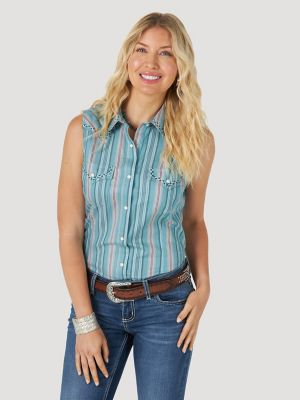 Women's Wrangler Retro® Sleeveless Stripe Western Snap Top