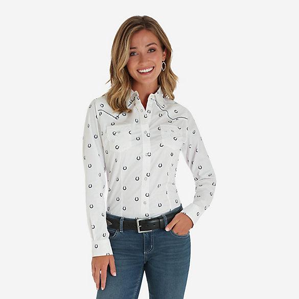 de334ab9 Women's Long Sleeve Horseshoe Print Western Snap Shirt | Womens ...