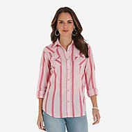 4eb5c7a925 Women s Long Sleeve Western Snap W Stitching on Pocket Denim Shirt ...