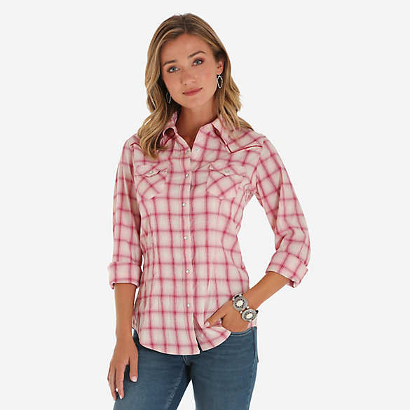 Women's Long Sleeve Sunwashed Plaid Button-Down Shirt