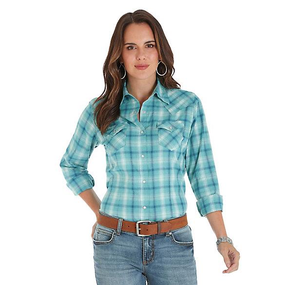 c0014f2c Women's Long Sleeve Crackle Wash Plaid Western Snap Shirt   Womens ...