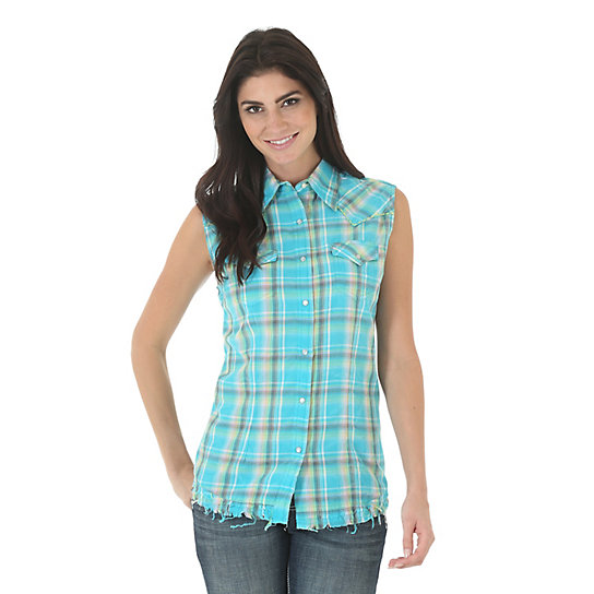 Women's Sleeveless One Point Front and Back Biased Yokes Plaid Top