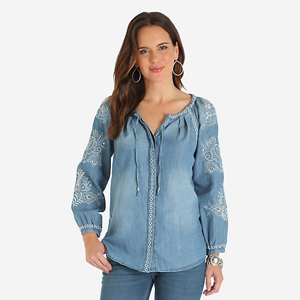 Women's Long Sleeve Embroidered Chambray Top