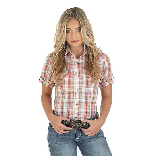 Wrangler® Half Sleeve with Snap Tabs Plaid Top - Cream/Rose/Turquoise