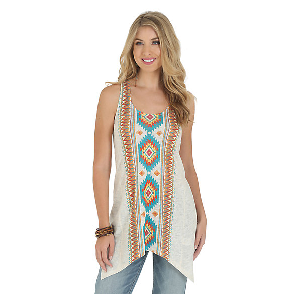 Wrangler® Sleeveless Top with Aztec Print Down Center Front and Back