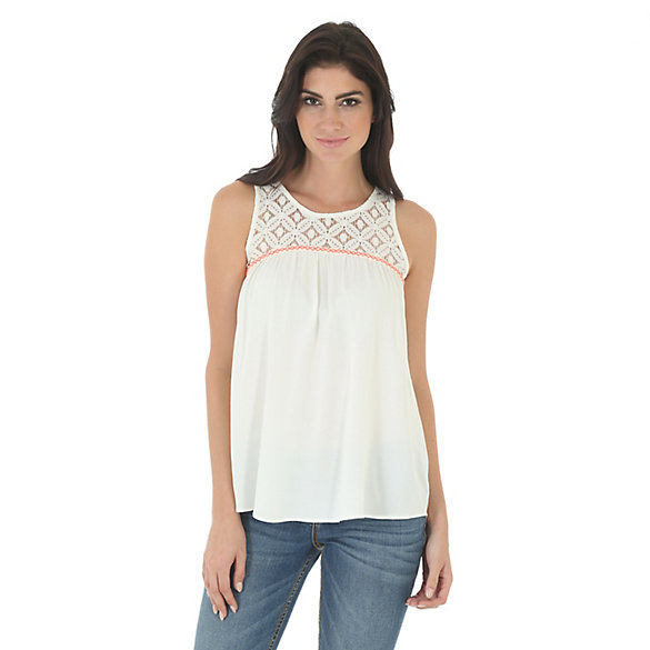 Women's Sleeveless with Crochet Piecing Solid Top