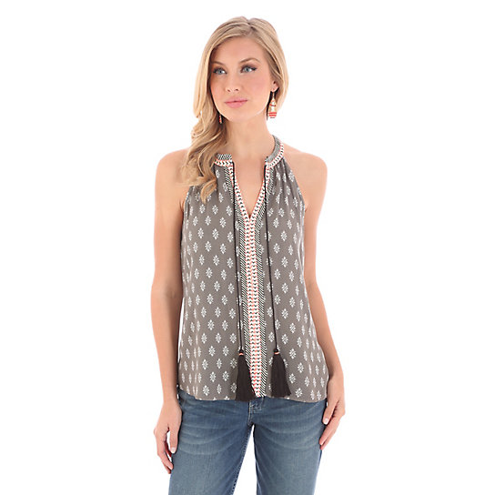 Women's Sleeveless with Tie and Notched Neckline Print Top
