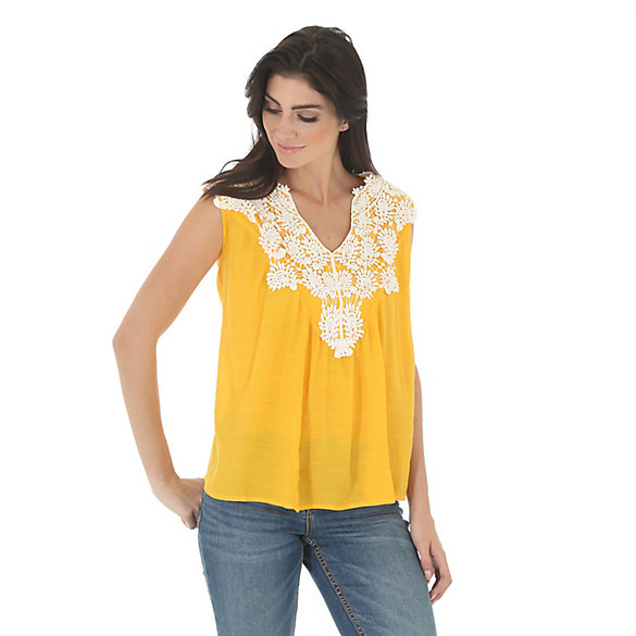 Women's Sleeveless Swing Top with Crochet Piecing at Front Chest/Shoulders Solid Top