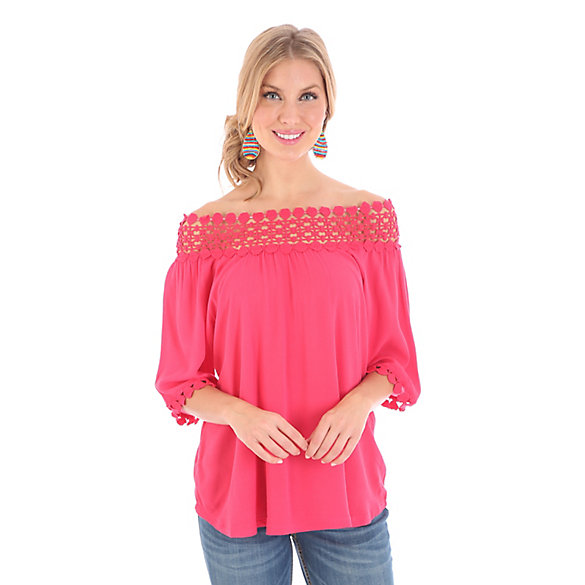 Women's Short Sleeve Smocked Solid Top