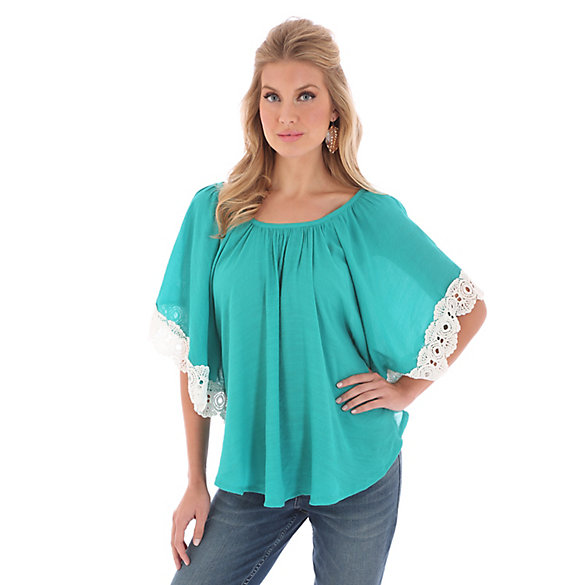 Women's Kimono Style with Crochet at Sleeves and Elasticized Neckline Solid Top