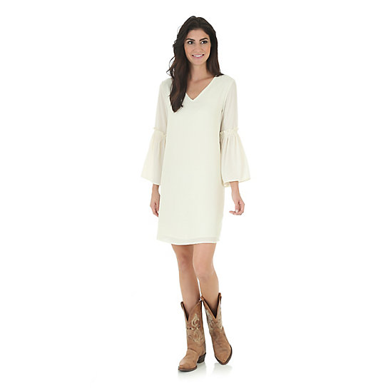 Women's Flutter Gathered Sleeve Dress
