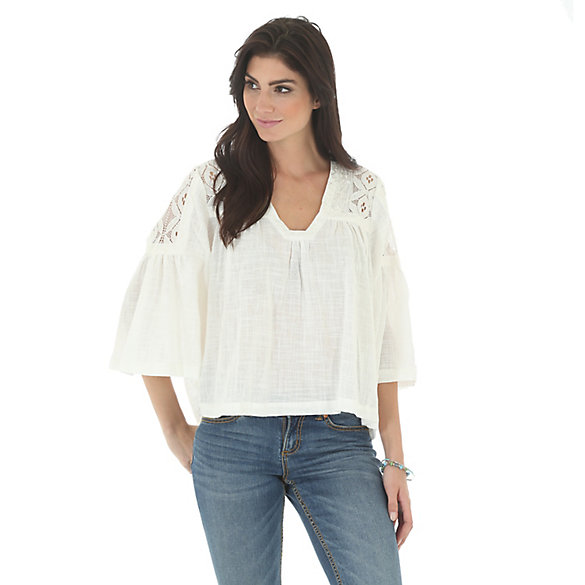 Women's Three Quarter Sleeve Peasant Solid Top