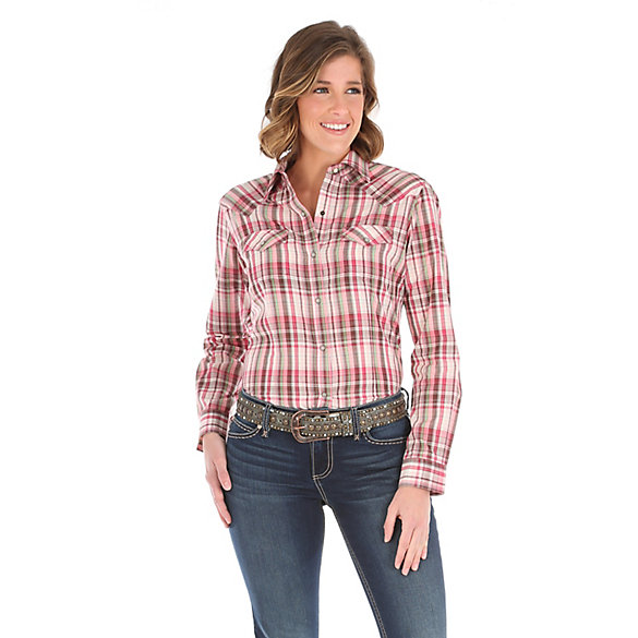 Women's Long Sleeve One Point Yokes Plaid Top