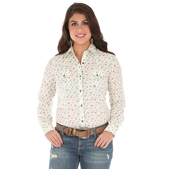 Women's Long Sleeve Western Snap One Point Yokes Print Top