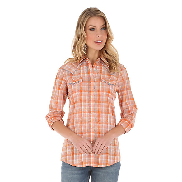 Women's Long Sleeve Yokes and Center Front with Whipstitching Print Top